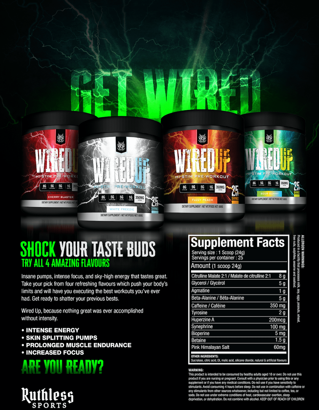 Ruthless Sports Wired Up | Great Tasting Pre-workout