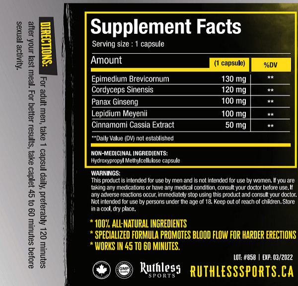 Ruthless Sports Hardmax Supplement Facts