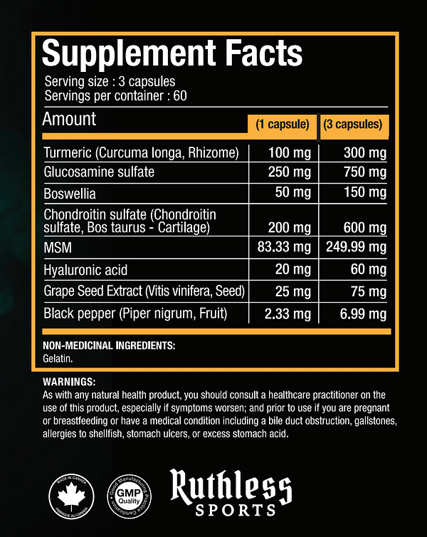 Ruthless Sports Unbreakable Supplement Facts